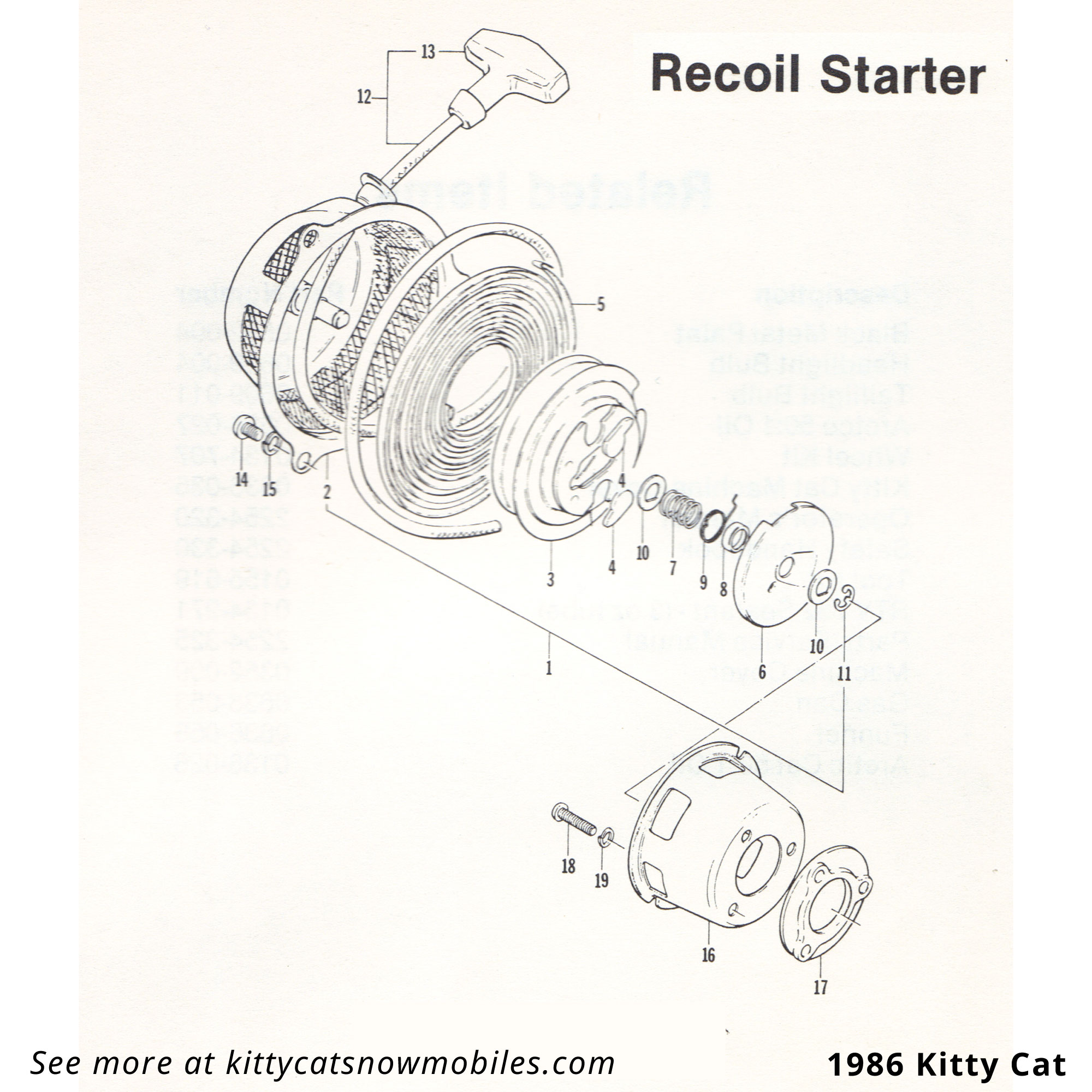 86 Recoil Starter parts