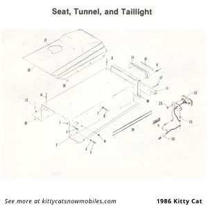 86 Seat, Tunnel, and Taillight parts
