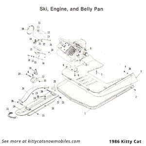 86 ski engine bellypan parts