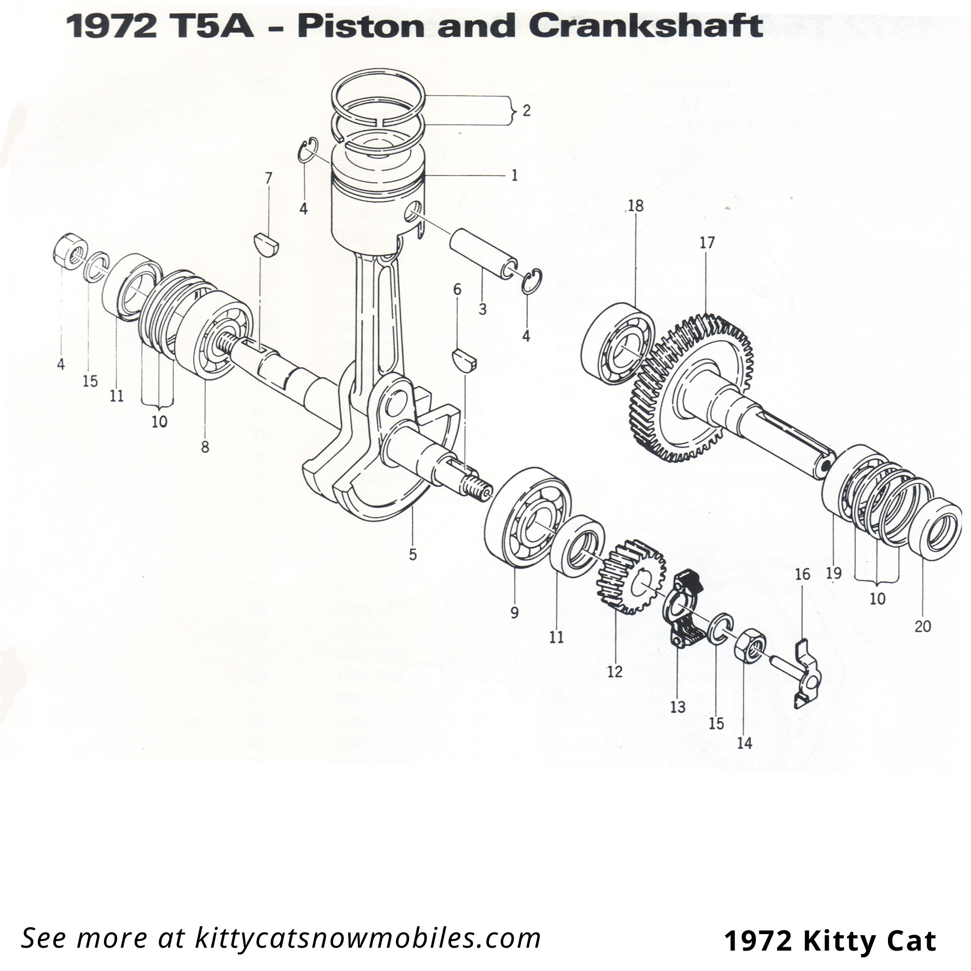 72 Kitty Cat Piston And Crankshaft Parts